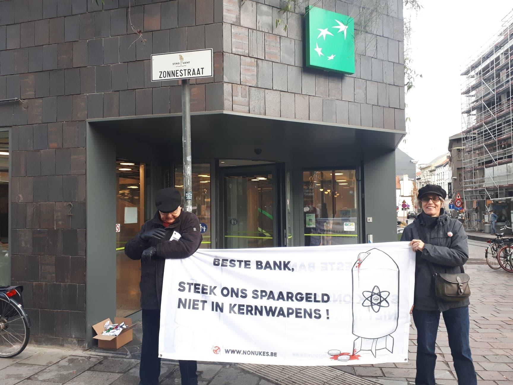 Actieverslag: Prikactie aan BNP Paribas Fortis in Gent